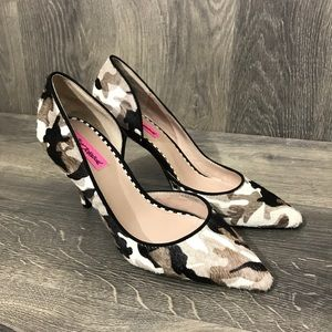Betsey Johnson Camo Fur Heel